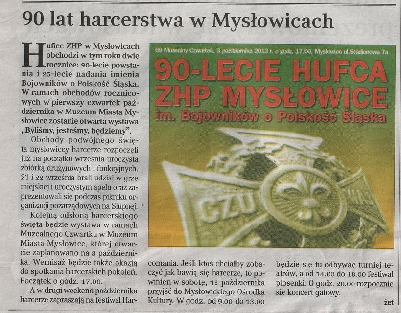 90 lat harcerstwa w mysłowicach